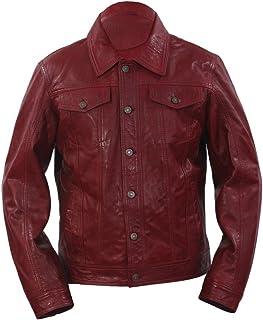 Infinity Trucker Camicia Casuale Borgogna in Pelle Rivestimento dei Jeans da Uomo