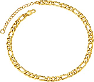 "Anklet Bracelets for Women Men 18K Gold Plated Figaro Chain 5mm 8.5"" Golden"
