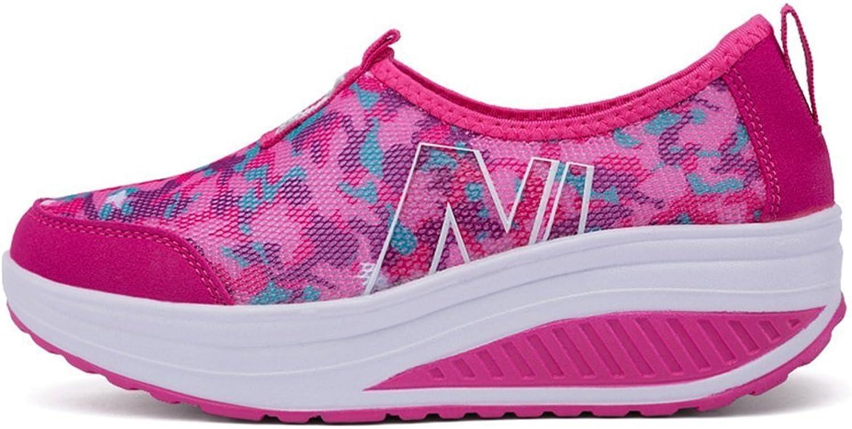 Women's Vintage Floral pink Print Casual Walking Sneaker Platform Fitness Wedges shoes