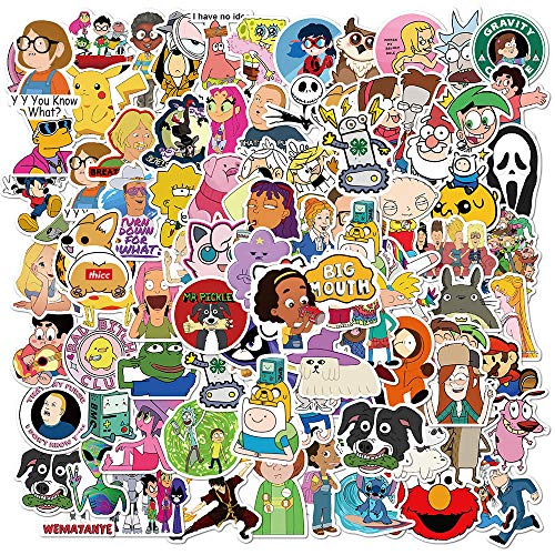 101pcs Mixed Anime Characters Stickers Water Bottles Laptop Hydroflasks Phone Computer Pekemon Adventure Time Vinyl Sticker Waterproof Aesthetic Trendy Decals for Teens Boys Adults