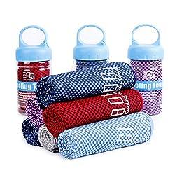 Bogi Serviette de refroidissement pour instantané froid-(100cm) x (30cm)-à utiliser comme Écharpe Bandeau Bracelet Bandana-doux Cool en fibre de bambou-rester Cool pour le yoga de voyage Climb Golf de football de tennis et sports de plein air