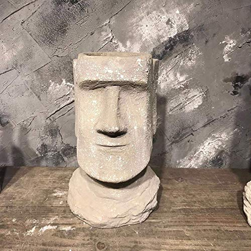 GH-YS Rishx Moai Retrato Cemento Flor Suculenta Florero seco Arte Creativo Estatua de Piedra Patio Jardín Balcón Decoración Escritorio Artesanía Decorativa