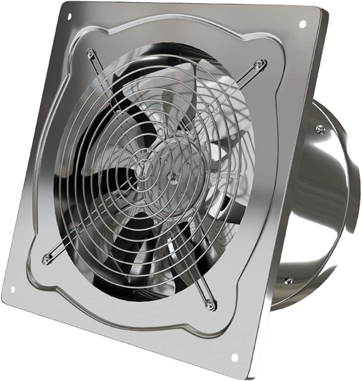 Ventilador de ventilación de pared de acero inoxidable con cubierta de malla y válvula de retención Ventilador de escape de humo de cocina Ventilador de escape de 7 cuchillas, plata, escape fuerte
