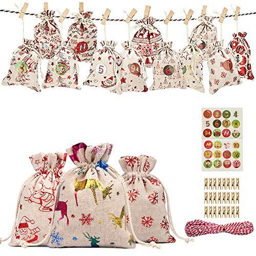 24 Stück Weihnachten Adventskalender befüllbare DIY Adventskalender Tüten, Jute-Geschenkbeutel mit Kordelzug, mit 1-24 Adventszahlen Aufkleber für Weihnachten Hochzeit Geburtstag Party