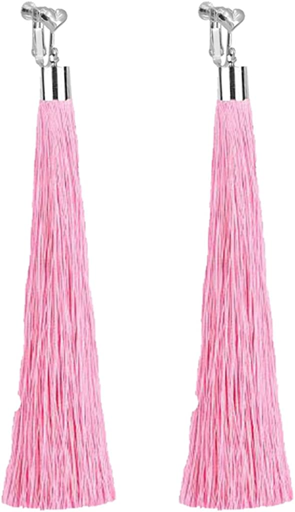 Bohemian Pink Super Long Tassel Clip on Earrings Dangle For Girls Women Party Prom with Gift Pox