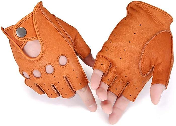 Gants de Sport de moitié de Sports, Unisexe antidérapant approprié au Cyclisme Sports de Plein air (Couleur   Marron, Taille   L)
