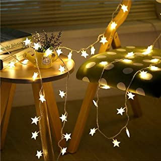 Star String Lights, Battery Operated LED Twinkle Lights 50pcs LED Indoor Fairy Lights Warm White for Patio Wedding Bedroom Princess Castle Garden Birthday Party Indoor Outdoor Decoration