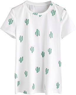 Romwe Women's Casual Tunic Top Planet Logo Allover Cartoon Cacti Cactus Graphic Print Tee Shirt