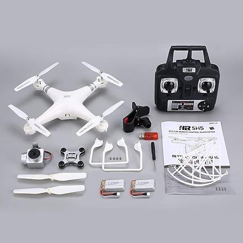 Garciasia SH5H 2.4g Drone FPV con 1080p Cámara HD de Gran Angular WiFi Video en Vivo Modo sin Cabeza Sentido de Gravedad Tecla de Retorno RC Quadcopter (Color  blanco y negro)