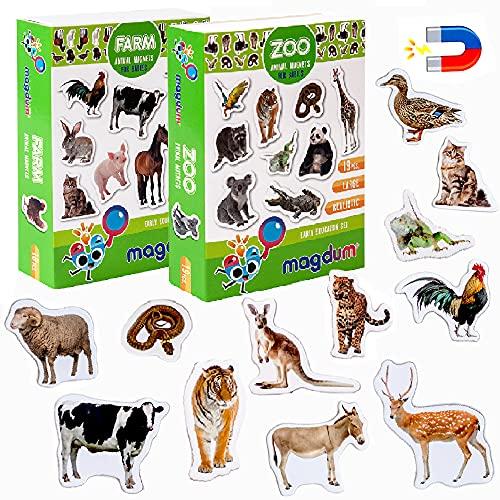 MAGDUM Imanes nevera niños Animales Granja + Zoo - 35 Grandes imanes bebes - Montessori bebe - Animales de juguete - Juguetes bebes - Juegos educativos niños - Nevera juguete - Iman de nevera
