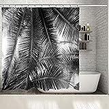 None brand Palme verlässt Tropische Landschaft Insel Natur romantischen Strand Foto schwarz weiß Duschvorhang-B120xH200cm