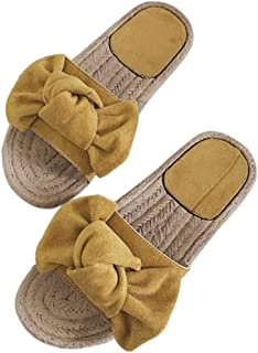 FASHIONMIA Women's Summer Beach Bow Tie Faux Espadrille Flat Sandal Slides