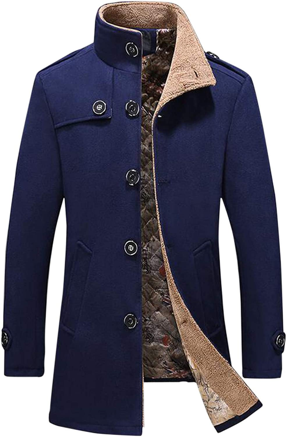 Windbreaker Overcoat for Mens, Classic Wool Double Breasted Coat Stand-Up Collar Trench Coat Wool Lamb Jacket
