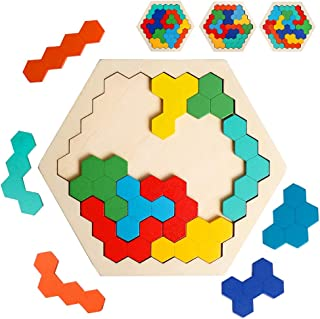 Wooden Hexagon Puzzle for Kid Adults Shape Pattern Block Tangram Brain Teaser Colorful Toy Geometry Logic IQ Game STEM Montessori Educational Gift for All Ages Challenge Children Kid Boys Girls