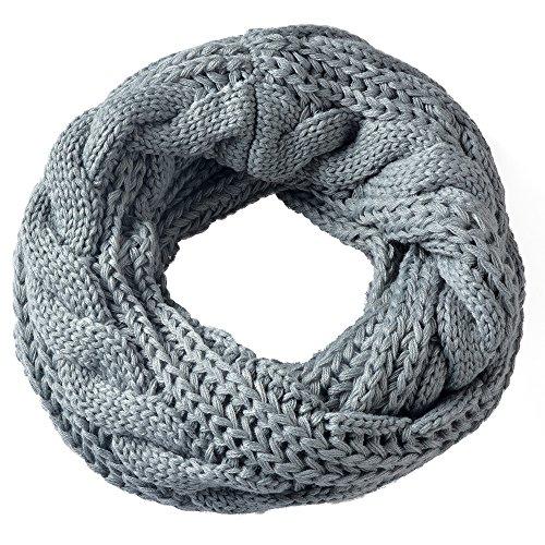 Miobo Zopfmuster Stricken Loopschal Wolle warmen Winter Dicke Schal Schleife Kreis Schal Gestrickte Rundschal Schlauchschal (Hellgrau)