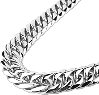 9/11/13/16/19/21mm Silver Stainless Steel Cut Cuban Curb Link Chain Mens Bracelet Necklace 7-40inches