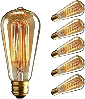 Vintage Edison Bulb, CMYK Dimmable 40W ST64 Antique Bulb Squirrel Cage Filament Light for Decorate Home, E27, 2700K, Warm ...