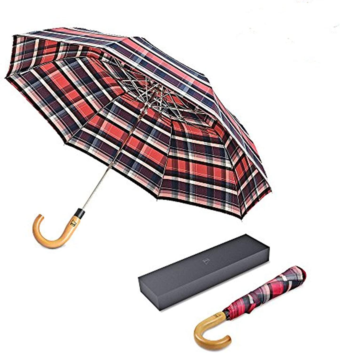 BOY Designed in Germany Wood Large Travel Umbrella Windproof Wooden Handle Auto Open Close Family