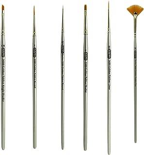 ZEM BRUSH Golden Taklon Mini (tiny) Detail Brush Set Fan 2/0, Liner 20/0, Flat 2, Detail 10/0, 1, Angle 1/8