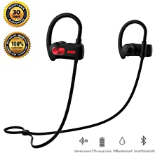 REDX1 Bluetooth Headphones, Best Wireless Sports Earphones w/Mic IPX6 Waterproof HD Stereo Sweatproof Earbuds for Gym Running Workout 11 Hour Battery Noise Cancelling Headsets