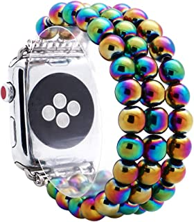 KAI Top Compatible with iWatch Band 38mm 42mm, Unisex Fashion Handmade Beaded Elastic Jewelry Bracelet Band Strap Replacement iWatch Bands Series 3 2 1 (Rainbow 8mm Bead, 42mm)