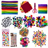GIEMSON 1240 Pcs Arts and Crafts Supplies for Kids Include Pipe Cleaners, Pom Poms, Craft Sticks, Buttons,...