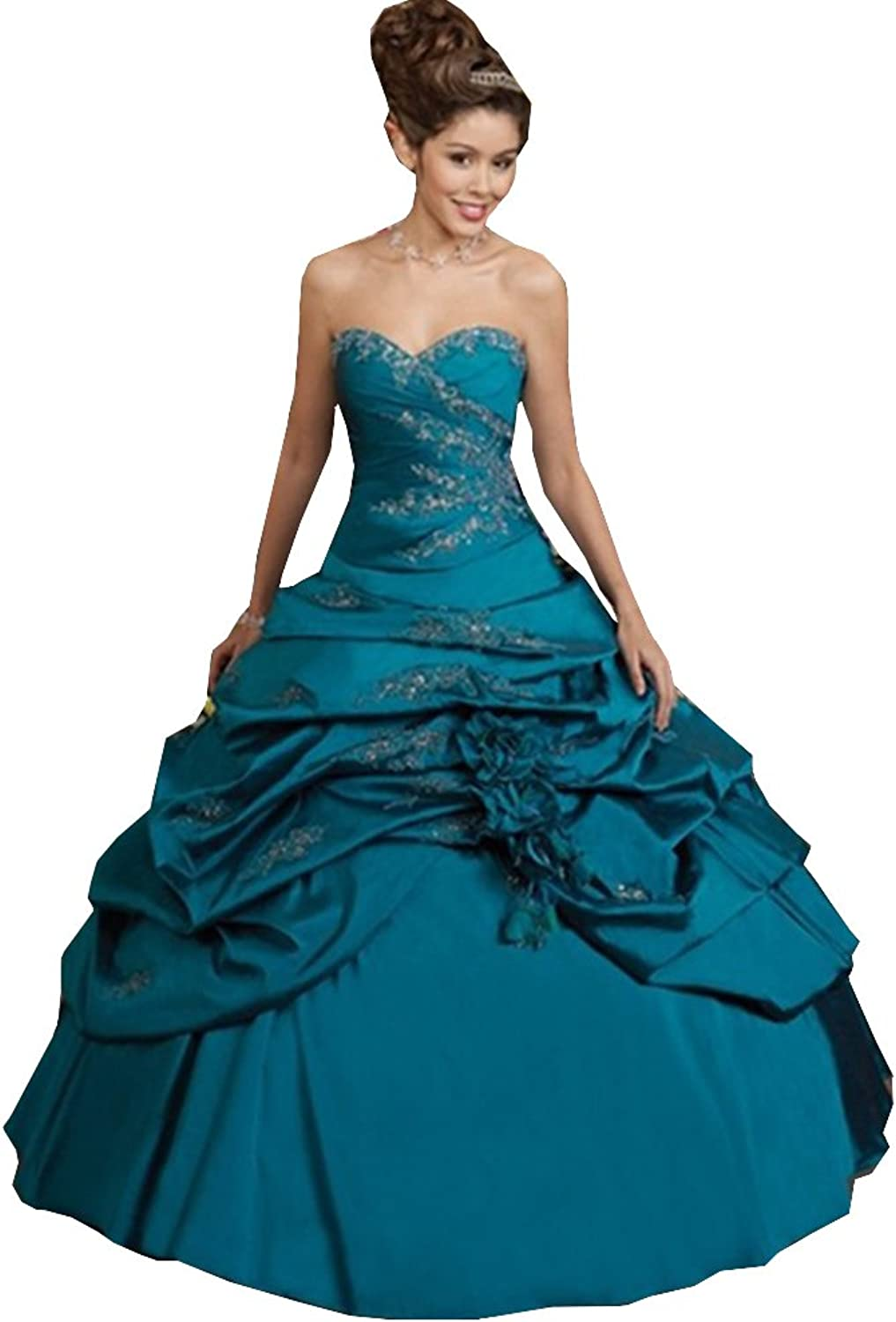 Lavaring Women's Sweetheart Pleat Applique Taffeta Backless Laceup Ball Gown