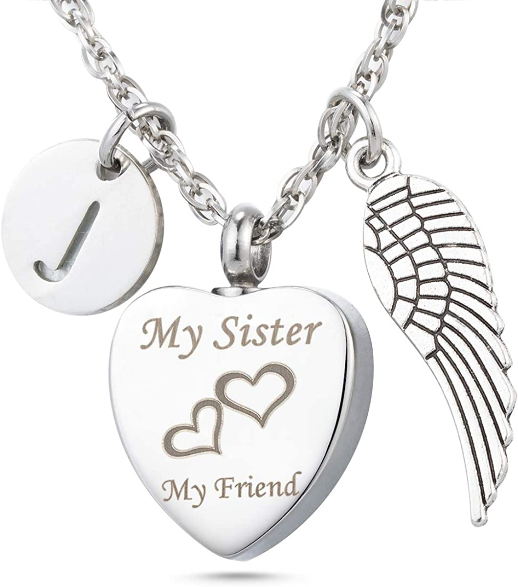 My Sister My Friend Angel Wing Urn Necklace 26 Initial Letter Charm Keepsake Memorial Cremation Jewelry