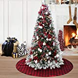 EDLDECCO 36 Inches Christmas Tree Skirt Red and Black Plaid Buffalo Check Double Layers Handicraft Xmas Decoration Holiday Ornaments