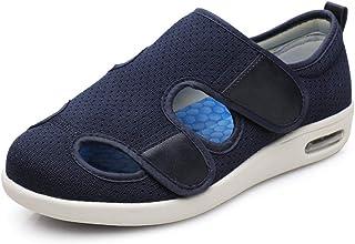 Enflé Gonflée Chaussons Réglable,Sandales Seniors à Velcro de Taille Ajustable d'été, Chaussures de Marche Flip-Top-Bleu B_44