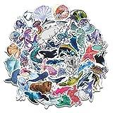 DUOYOU /Set de Peces de Mar Pegatinas de Animales Océano Mundo Plantas Coral Medusas Linda Dibujos Animados Impermeable...