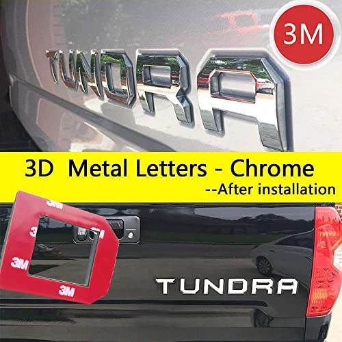 Auto safety for Toyota Tundra 2014-2019 Tailgate 3D Raised Metal Insert Letters (Chrome