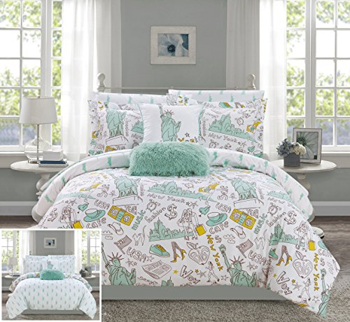 Chic Home Liberty 9 Piece Reversible Comforter New York Inspired Printed Design Bed in a Bag-Sheet Set Decorative Pillows Shams Included Size, Full, Green