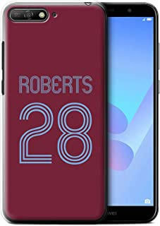 Personalized Custom Soccer Club Jersey Shirt Kit Case for Huawei Y6 (2018) / Claret Blue Design/Initial/Name/Text DIY Cover