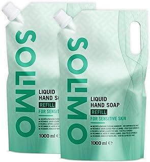 Marca Amazon - Solimo Recambio jabón de manos líquido hipoalergénico - Pack de 2 (1000ml x 2)