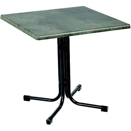 Amazon De Acamp Gartentisch Piazza Eckig Anthrazit Cemento Grigio Grosse 80x80xh72cm Stahl Gestell Klappbar Tischplatte Aus Wetterfester Holzfaserplatte Topalit Niveauausgleich