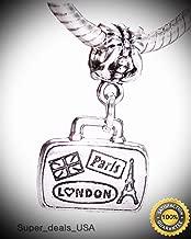 Paris London Suitcase Luggage Word Trip Travel Charm for European Bead Bracelets Fashion Jewelry for Women Man