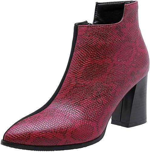 GPFzapatos botas de mujer, zapatos Tobillo Tamaño Grande Calzado Cuero plataforma Botines Tacon Medio Invierno Planos Tacon Ancho Piel Serpiente Martin botas Moda Casual Planas,rojo,38EU