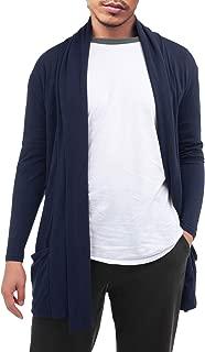 Men's Cardigan Ruffle Shawl Collar Cardigan Open Front Blend Long Length Drape Cape Overcoat
