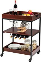Giantex Kitchen Island Cart Rolling Industrial Style Trolley 3-Tier Serving Cart Utility Cart Wood Kitchen Stand with Glas...
