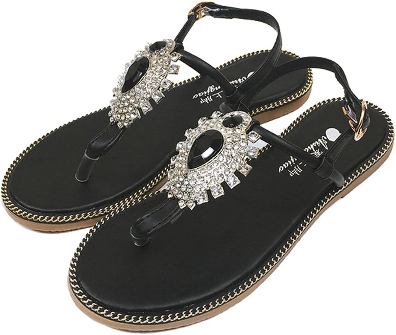 Btrada Women's T-Strap Flat Sandals Glitter Flower Dress Sandals