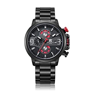 T5 H3610G-A Round Stainless Steel Analog Watch for Men - Black