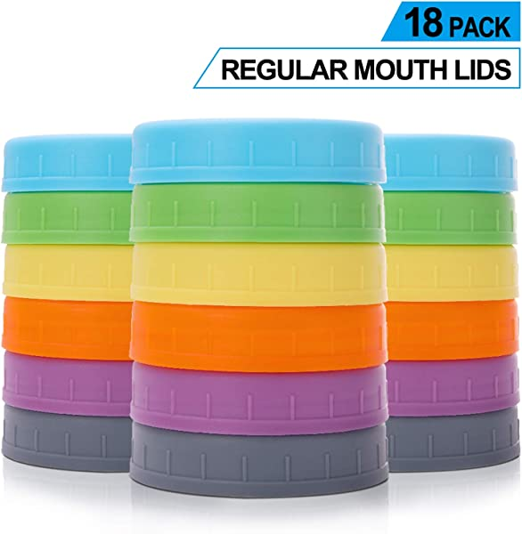 Aozita 18 Pack Plastic REGULAR Mouth Mason Jar Lids For Ball Kerr And More With Silicone Rings Food Grade Colored Plastic Storage Caps For Mason Canning Jars Anti Scratch Resistant Surface
