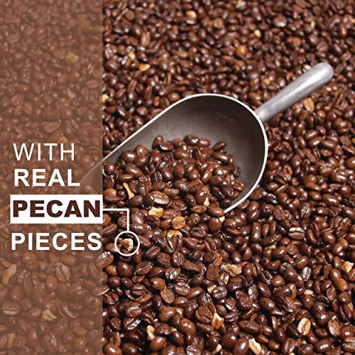 Lola Savannah Texas Pecan Whole Bean Coffee - Gourmet Arabica Beans Blended with Real Pecan Pieces, Caffeinated, 2lb Bag
