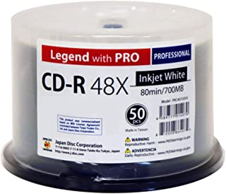 50 Spindle CD-R Legend with PRO TY-JDC 48X 700MB 80Min (MID 97m24s01f) White Inkjet Hub Printable Blank Recordable Disc