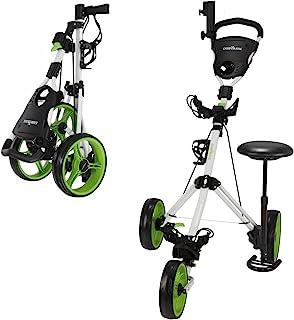 Caddymatic Golf X-TREME 3 چرخ فشار / چرخ دستی گلف را با صندلی سفید / سبز بکشید