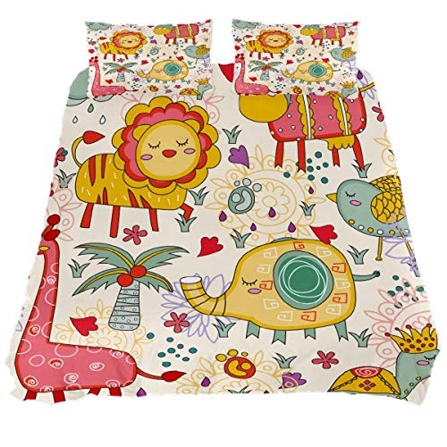 N\O Cute Jungle Animals Bedding Sets Breathable Bedclothes 3 Pieces Bedding Duvet Cover Sets (1 Duvet Cover + 2 Pillowcases) Room Decor Ultra Soft Microfiber(NO Comforter Included)