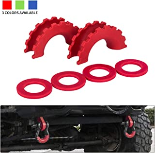 BUNKER INDUST D Ring/Shackle Isolator Kit,1 Pair Red D-Ring Isolator and 4 Pcs Washers Dring Cover Fit for 3/4