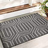 Color&Geometry Non-slip Dirt Trapper Door Mat 50 x 80 cm, Machine Washable Soft Doormat Barrier Rug Entrance Rug for Front Back Door, Indoor, Entryway, Hallway (Black)
