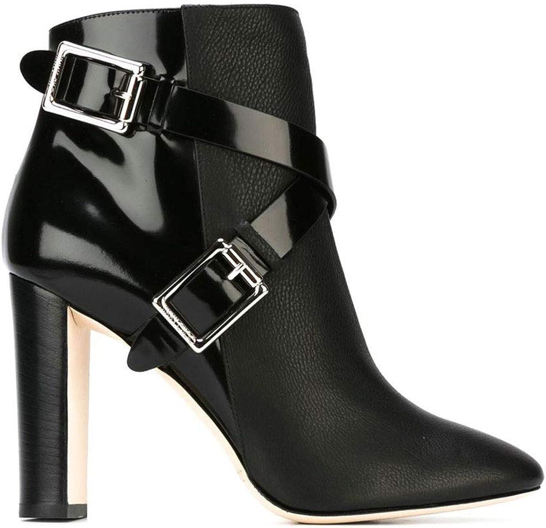 Frauen High Heel Stiefeletten Mode Metall Schnalle Kreuzgurte Spitz Dick Mit Kurzen Stiefel Seitlichem Reiverschluss Wasserdichte Plattform